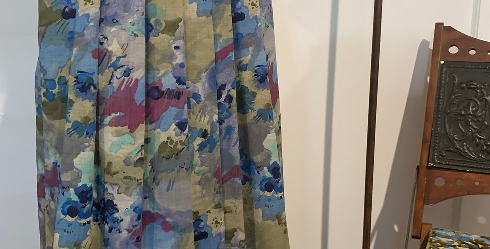 Vintage Silk Pleated Floral Print Skirt