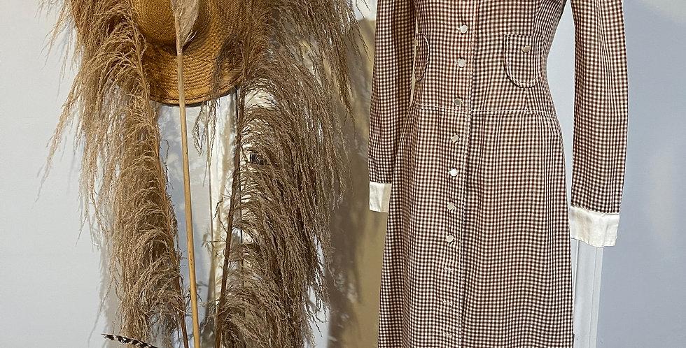 Vintage Gingham Print Dress