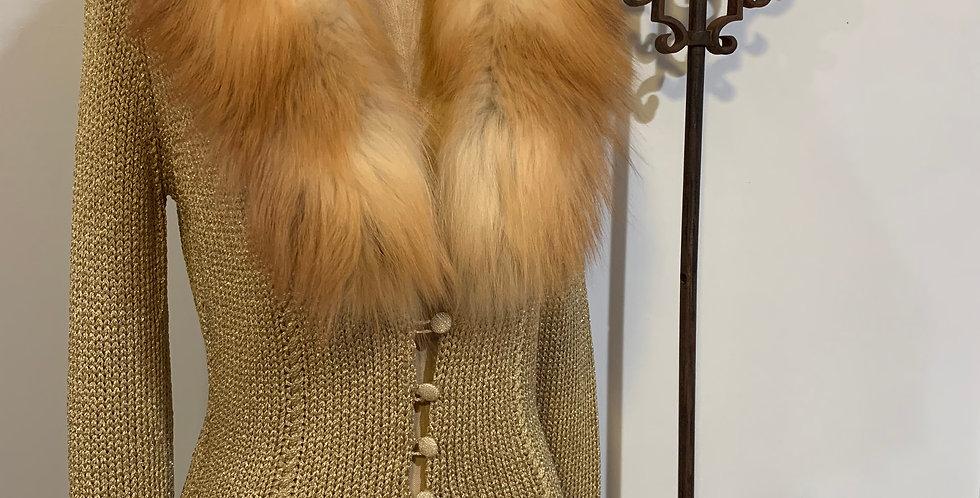 Blumarine Knit Cardigan with Fur Collar