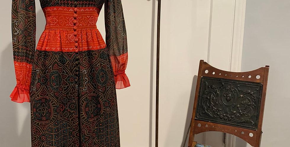 1970's Oscar de la Renta Bhandanni Print Maxi Dress