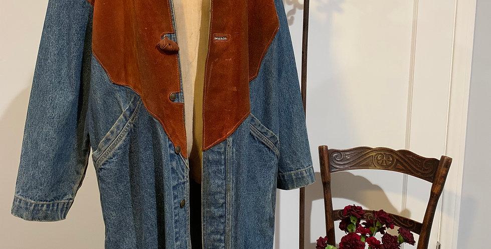 Vintage Oversized Denim Coat with Suede Detail