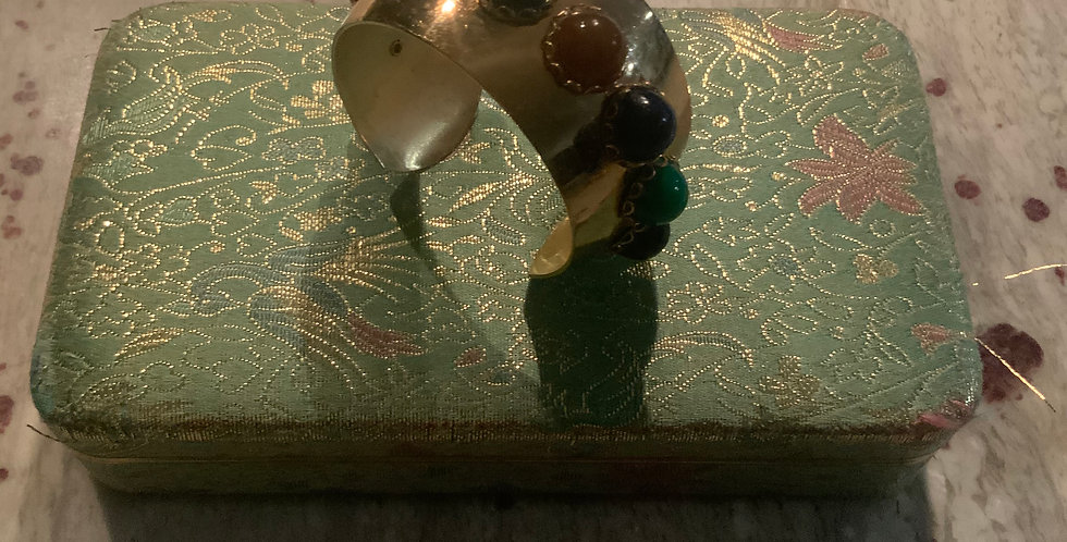 Gold Cuff with Colorful Stones