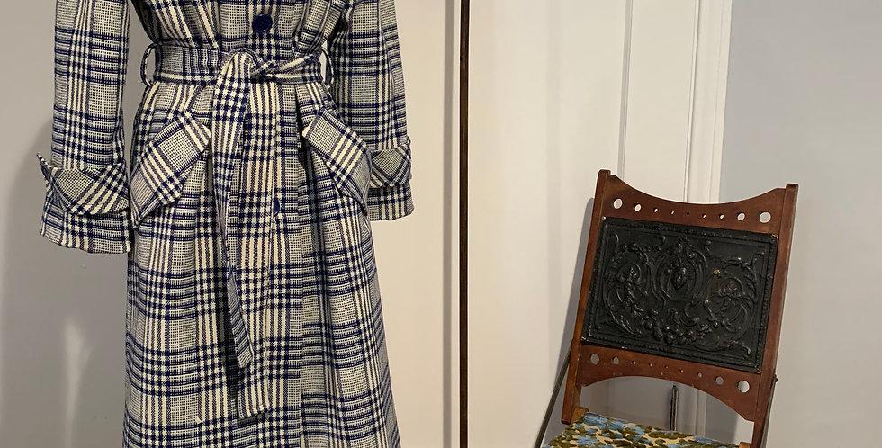 Vintage Plaid Trench Coat