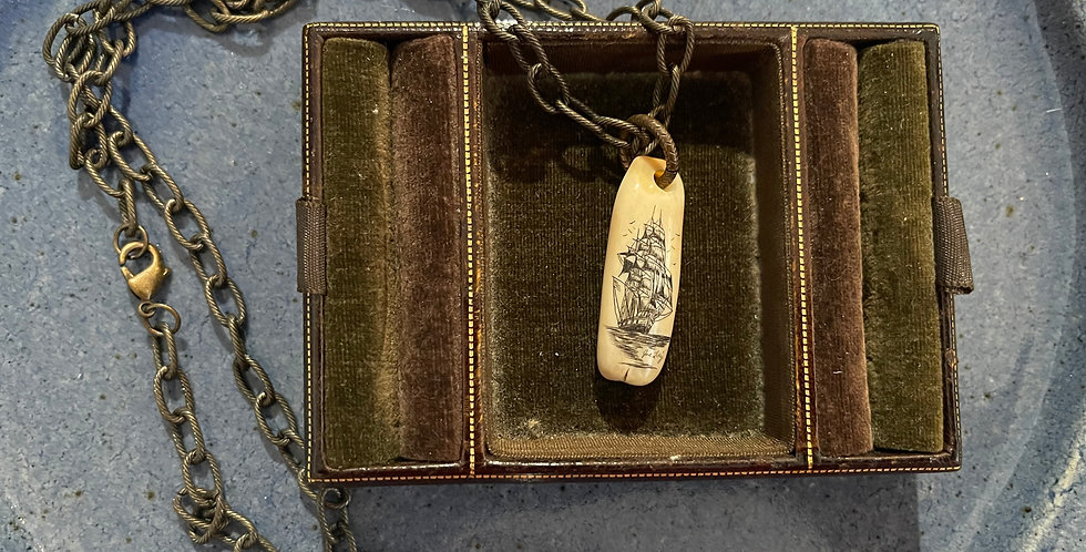 Vintage Bone Scrimshaw Pirate Ship Necklace