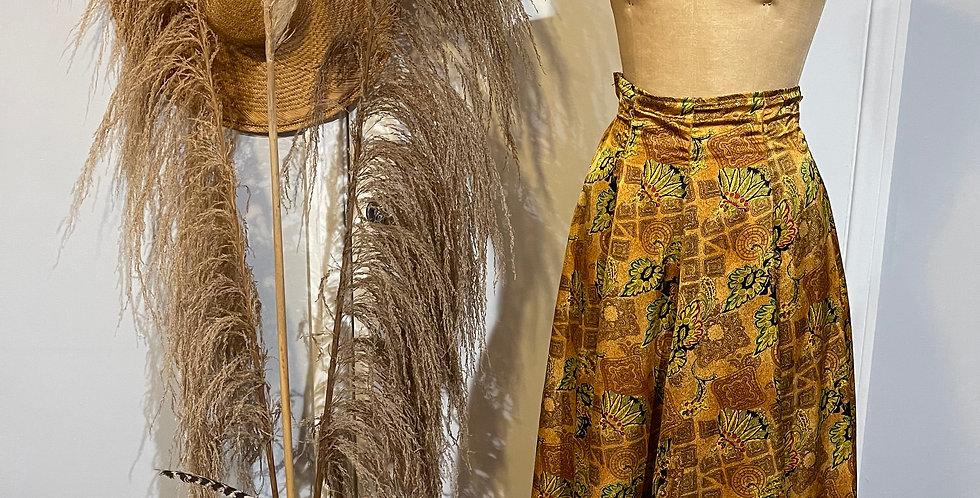 Vintage Leaf Print Satin Skirt