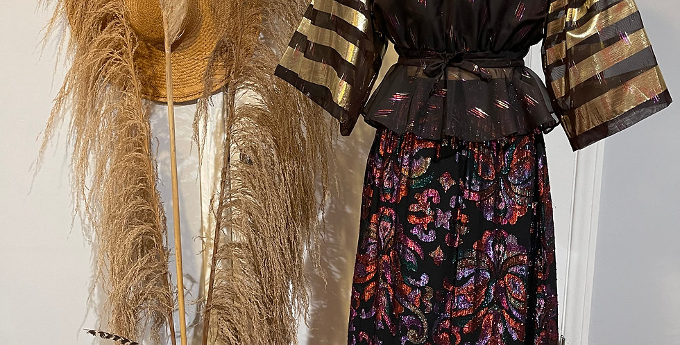 Vintage Gold and Pink Lame Skirt Set