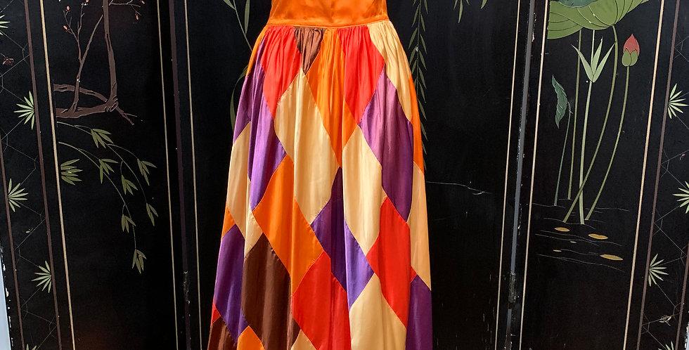 Vintage Harlequin Print Satin Skirt