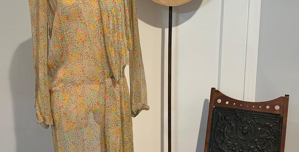 1920's Silk Chiffon Flower Print Dress