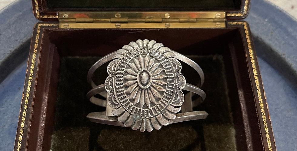 Antique Navajo Sterling Silver Concha Cuff