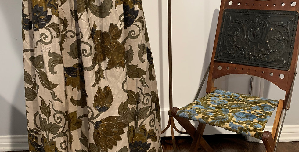 Vintage Silk Floral Print Skirt