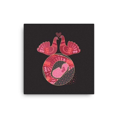 Canvas pregnancy art Doves black