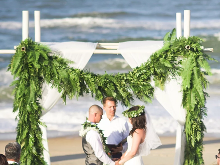 Caitlin + John |  Fern Filled Nags Head Event Home Wedding