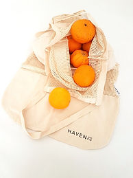 Haven & co produce bags.oranges flatlay
