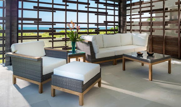 Outdoor Wicker with Teak Set
