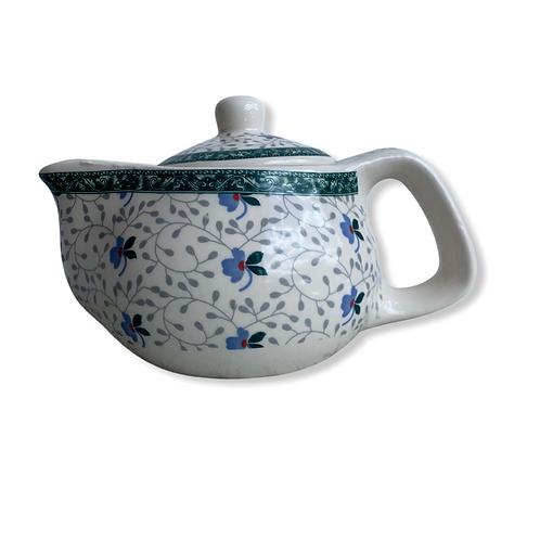 Tetera Ceramica Flor Gris Azul 9oz