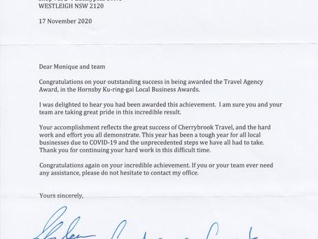 Letter of Congratulations from Julian Leeser