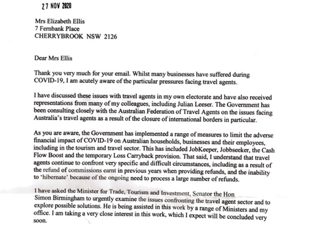 Letter from PM Morrison in support of the Travel Industry