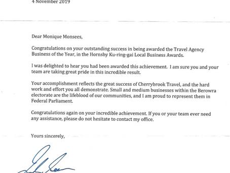 Thank you to Federal Member for Berowra, Julian Leeser MP