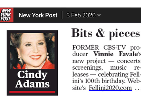 Fellini 2020 Project In Today's NY Post
