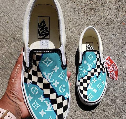 Selling - checkerboard vans painted