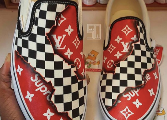 Burnt Hype Checkerboard Vans (Any Size)