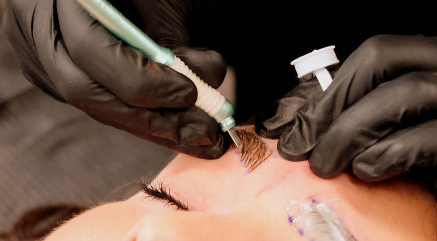 Microblading in action.