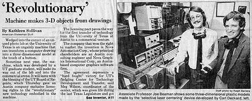 Photo of Carl Deckard & Joe Beaman, Austin American Newspaper, 1987.