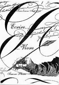 IMG main écrivant  à la plume sur fond c