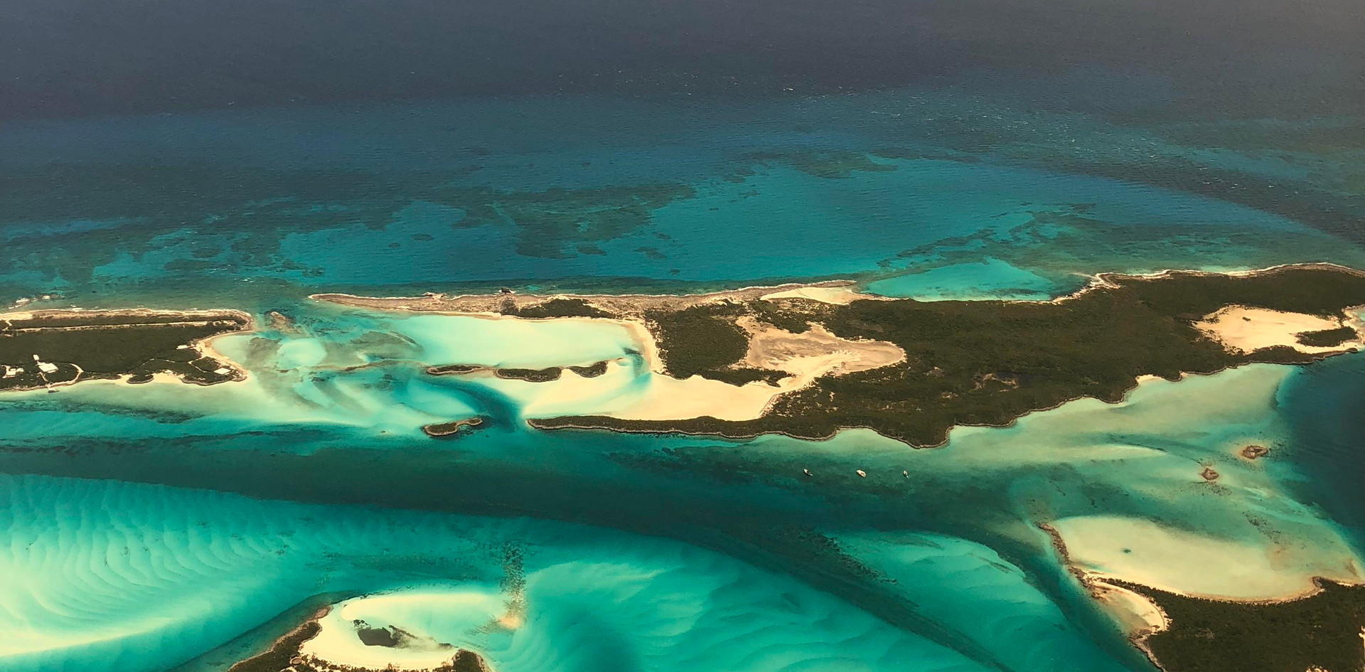 Flying in to Staniel Cay, Bahamas