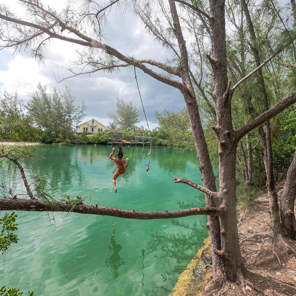 Rope Swing, Eleuthera, Bahamas
