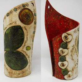 Oval Leaves with Red Vase
