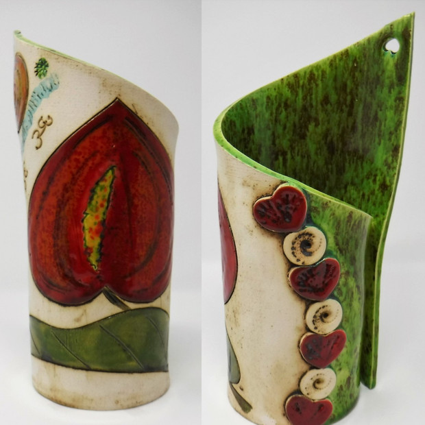 Red Flower with Pistachio Vase