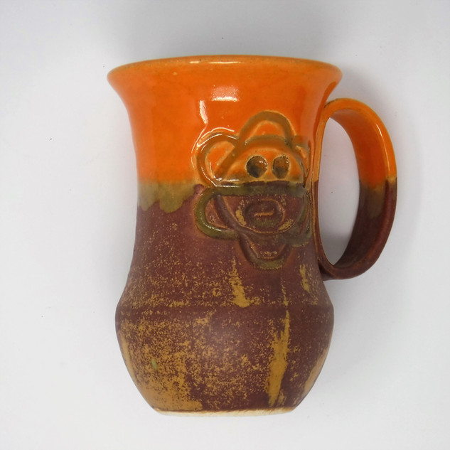Hand Thrown Pottery Mug - Orange