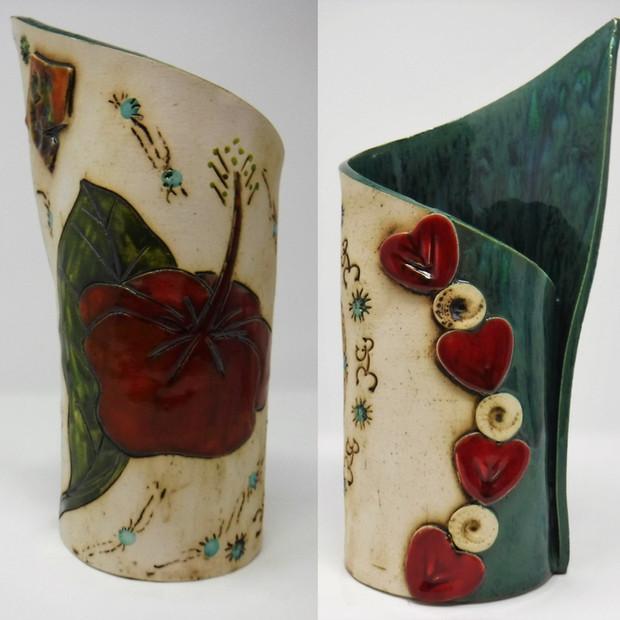 Hibiscus with Emerald Vase