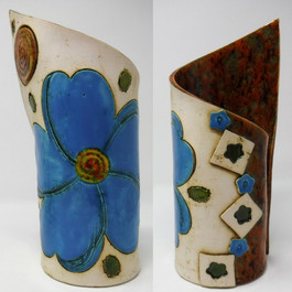 Blue Flower with Salmon Vase