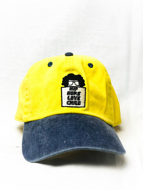 d95933a59de8e Yellow colored denim dad hat with navy blue brim and Hip Hop s Love Child custom  embroidery.