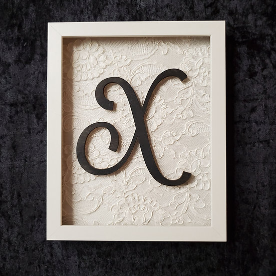 8x10 Initial and Lace Shadow Box