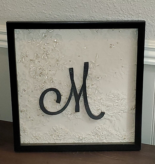 12x12 Initial and Lace Shadow Box