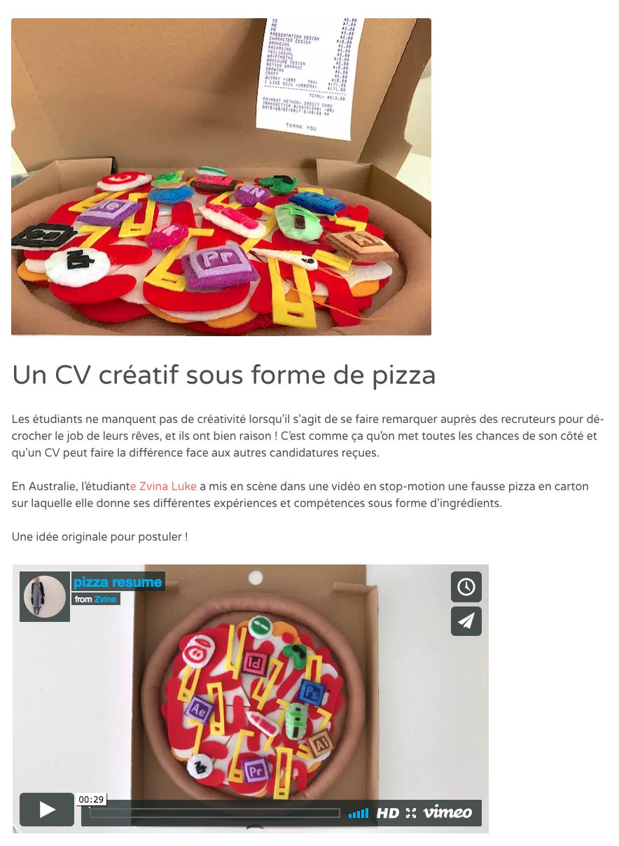 Un CV créatif sous forme de pizza
