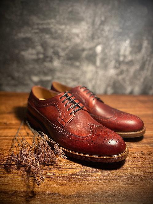 Vintage Handmade Wingtip Leather Derby Shoes BL268-38