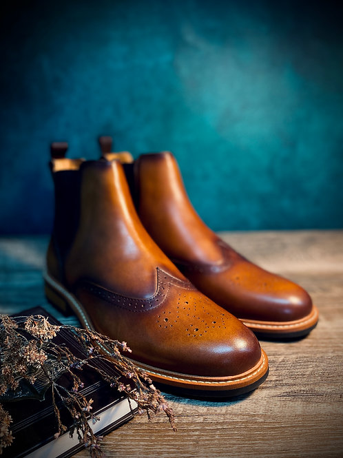 Vintage Leather Brogue Boot G03-9