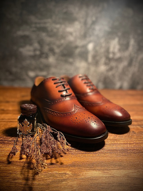Vintage Handmade Wingtip Leather Oxford Shoes BL016-18