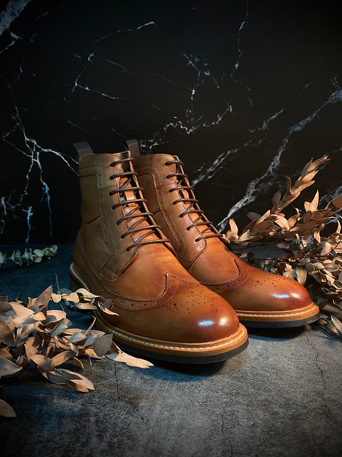 Vintage Leather Brogue Boot G5007-9