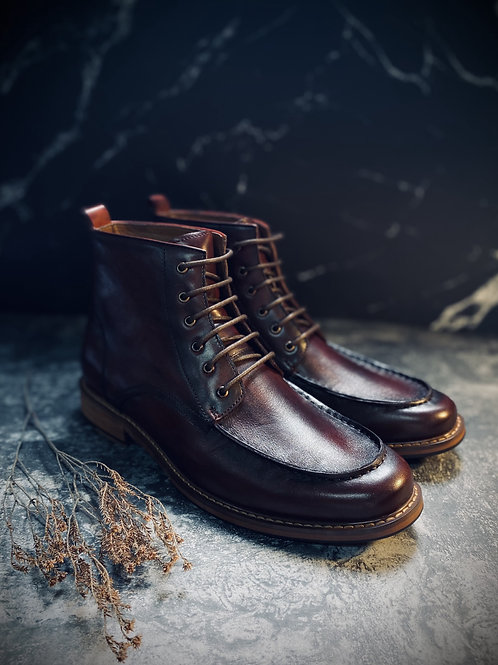 Vintage Full Grain Leather Brogue Boot 618-51