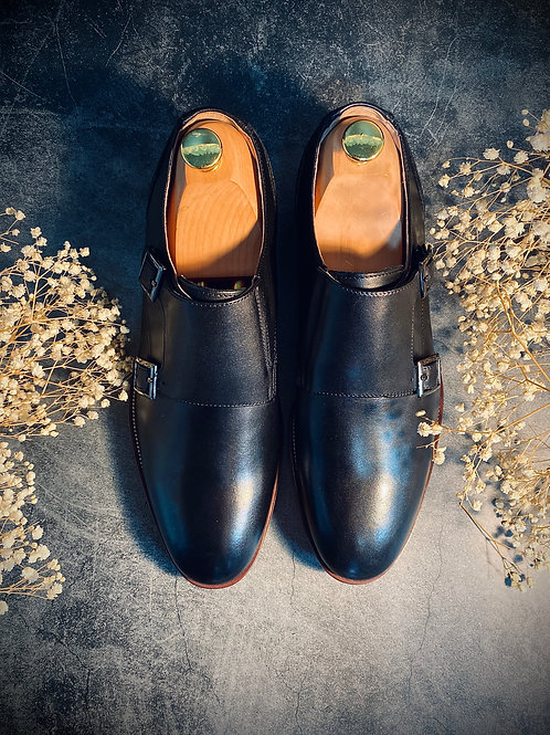 Leather Monk Strap Shoes 8135
