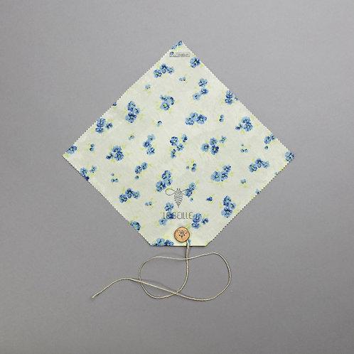 Emballage écologique à la cire d'abeille - Casse-Croûte fleurs bleues