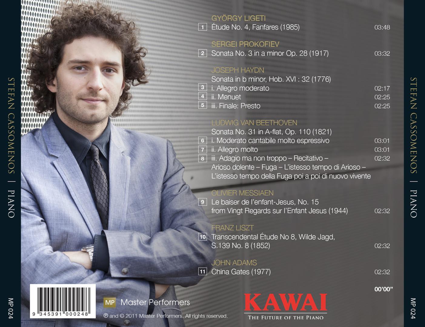 Stefan Cassomenos LIGETI   PROKOFIEV   HAYDN   BEETHOVEN   MESSIAEN   LISZT   ADAMS CD Tray