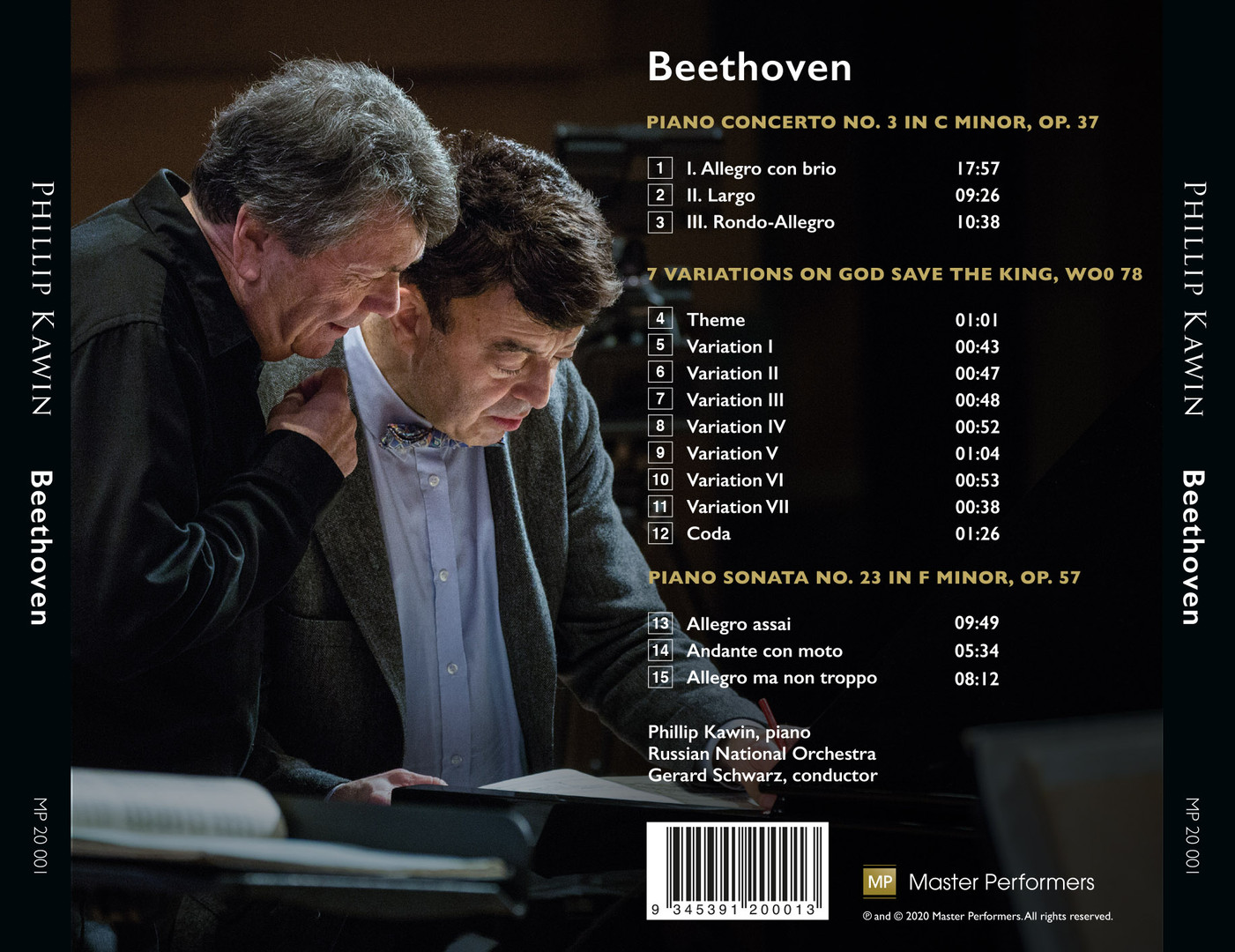 MP 20 001 Phillip Kawin: BEETHOVEN Piano Concerto No. 3 in C minor, Op. 37    7 Variations on 'God Save the King', Woo 78   Piano Sonata No. 23 in F minor, Op. 57