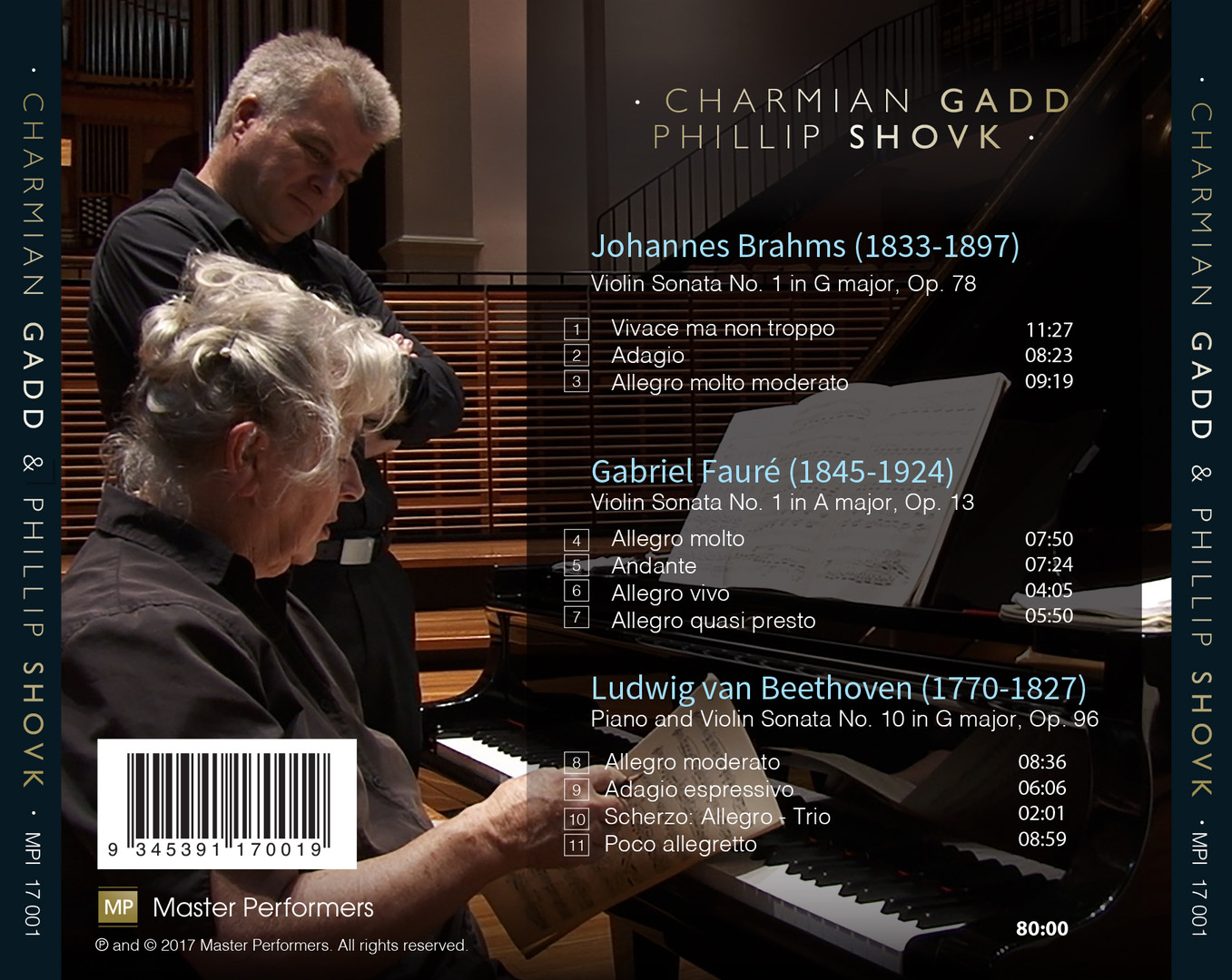 Phillip Shovk and Charmian Gadd Brahms, Faure, Beethoven CD Tray