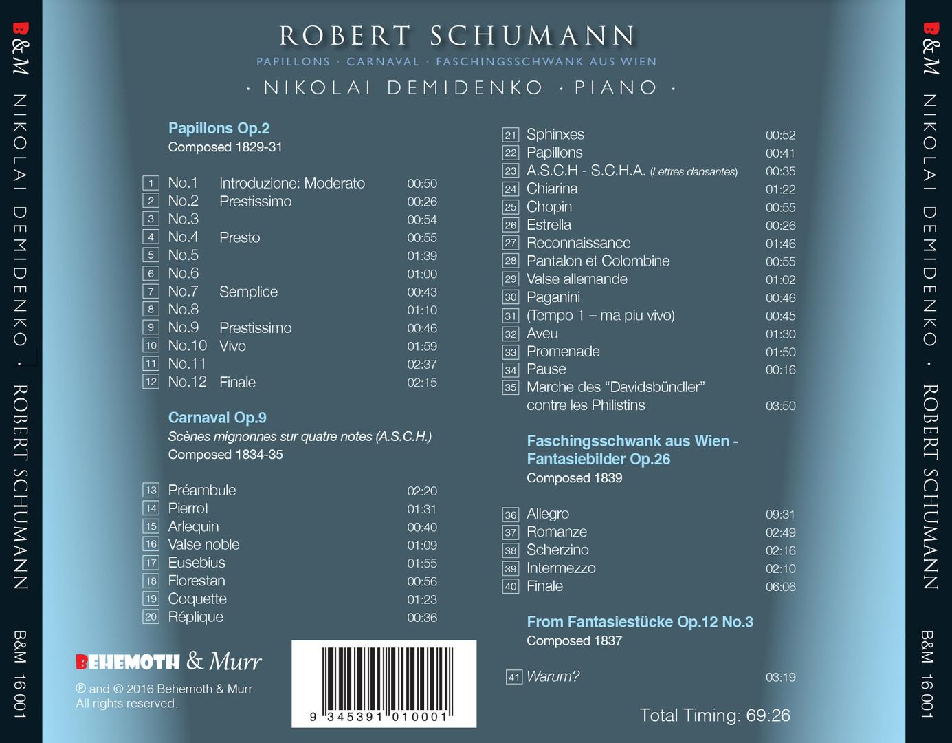 Nokolai Demidenko Robert Schumann CD Tray